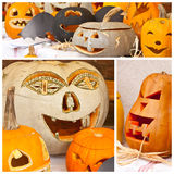 Pumpkin faces. Pumpkin face lamps with fall decorations royalty free stock image