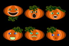 Pumpkin faces stock image