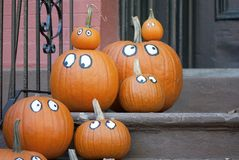 Pumpkin Faces. A group of pumpkins with eyes on the steps for Halloween royalty free stock photos
