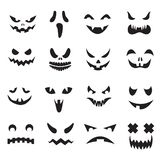 Pumpkin faces. Halloween jack o lantern face silhouettes. Monster ghost carving scary eyes and mouth vector icons set. Illustration of halloween face royalty free illustration