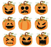 Pumpkin Faces. Set of Halloween pumpkins isolated on white background. Eps file available Stock Photo