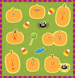 Pumpkin Faces Stickers Stock Photos