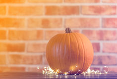 Pumpkin with Fairy Lights in Halloween holiday Stock Images