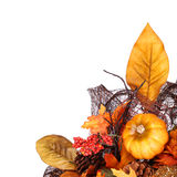 Pumpkin and Fall Leafs. Autumn or Thanksgiving Bouquet Royalty Free Stock Image
