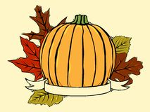Pumpkin and fall leaves Royalty Free Stock Photography