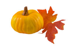 Pumpkin and Fall Leaves Royalty Free Stock Images