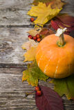 Pumpkin and fall leaves on wooden table Stock Photos