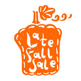 Pumpkin fall sale. Vector pumpkin silhouette with Late Fall Sale hand lettering. Design for your Christmas sales labels or stickers Stock Photography