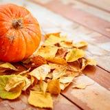 Pumpkin with fallen autumn leaves on shabby wooden floor. stock photo