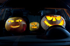 Pumpkin family in a car Stock Images