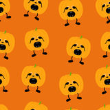 Pumpkin in fear pattern. Seamless pattern with orange pumpkin on two black legs with eyes full of fear partly closed by its hands, black nose crying with its Royalty Free Stock Image