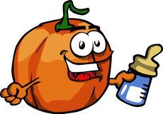 Pumpkin with feeding bottle Royalty Free Stock Photos