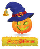 Pumpkin in a festive hat. Happy Halloween.  Stock Images