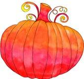 Pumpkin. Festive vibrant pumpkin watercolor painting Stock Photos
