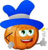 Pumpkin flipping a coin Royalty Free Stock Photography
