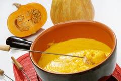 Pumpkin fondue. French cheese pumpkin fondue cuisine stock photography