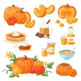 Pumpkin food vector soup, cake, pie meals organic healthy autumn food delicious harvest time seasona pumpkin Royalty Free Stock Photo