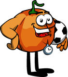 Pumpkin with football or soccer ball Stock Photos