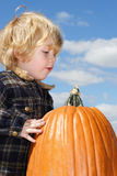 Pumpkin Found. Young boy looking over the pumpkin that he just found. The pumpkin is almost as large as he is Royalty Free Stock Images