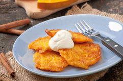 Pumpkin Fritters with cinnamon Royalty Free Stock Photo