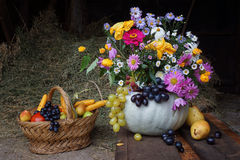 Pumpkin with fruit and flowers. Still life with Pumpkin with fruit and flowers, pears and grapes stock photos