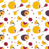 Pumpkin fruits and flowers seamless pattern Royalty Free Stock Photos