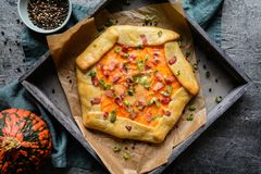 Pumpkin Galette with bacon, cheese and green onion stock photos