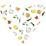 Fruit and vegetables pattern, colorfull on white background vector illustration
