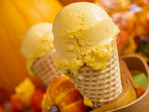 Pumpkin Gelato. Scoop of gourmet pumpkin gelato in waffle cones Royalty Free Stock Photos
