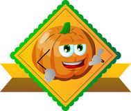 Pumpkin gesturing a call me sign label Royalty Free Stock Image