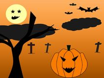 Drawing halloween night by program paint. royalty free illustration
