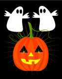 Pumpkin and ghosts on halloween. Halloween ghosts and jack'o latern pumpkin  illustration Royalty Free Stock Photos