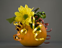 Pumpkin-gift. With a flower and tapes Stock Image