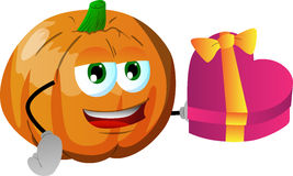 Pumpkin with gift for Valentines Day Stock Photo
