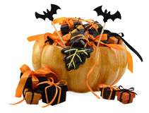 Pumpkin with gifts 3 Royalty Free Stock Photo