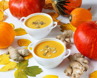 Pumpkin and ginger soup Stock Photo