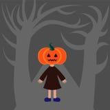Pumpkin girl on grey Stock Image