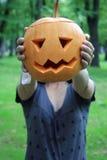 Pumpkin girl at the Hallooween Stock Photo
