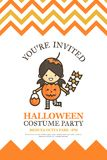 Pumpkin girl halloween invitation card for costume night party c Stock Images