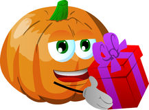 Pumpkin giving you a gift box Stock Images