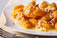 Pumpkin gnocchi with cheese and sauce close up. Horizontal Royalty Free Stock Image