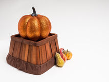 Pumpkin and Gourds. A shiny pumpkin sits on a upside down wooden basket with a few gourds sitting next to it royalty free stock photos