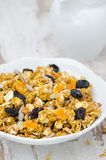 Pumpkin granola with dried fruit and seeds closeup Stock Photo