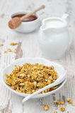 Pumpkin granola with milk and honey Stock Photo