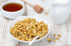 Pumpkin granola with milk and honey horizontal Stock Photography