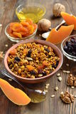 Pumpkin granola with walnuts and dried fruits Royalty Free Stock Photography