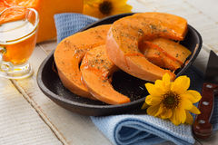 Pumpkin gratin with olive oil and herbs Royalty Free Stock Images