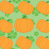 Pumpkin With Green Background Seamless Pattern Stock Photo