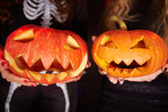 Pumpkin grins Royalty Free Stock Images
