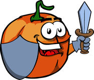 Pumpkin guard with shield and sword Royalty Free Stock Photography